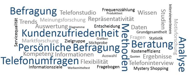 Begriffswolke - TagCloud Marktforschung